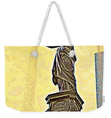 Woman And Flowing Water Sculpture At Fountain Square Weekender Tote Bag by Kathy Barney