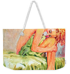 Woman In Blissful Ecstasy Weekender Tote Bag by Sher Nasser