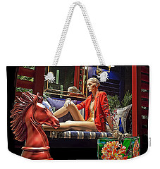Woman In Orange Weekender Tote Bag