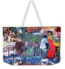 Woman In Red Weekender Tote Bag