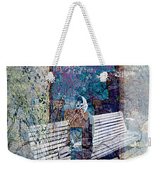 Weekender Tote Bag featuring the digital art Woman On A Bench by Cathy Anderson