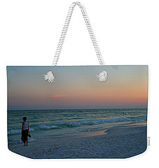 Woman On Beach At Dusk Weekender Tote Bag