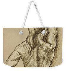 Weekender Tote Bag featuring the drawing Woman Sketch by Rob Corsetti