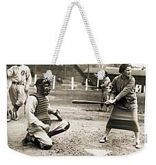 Woman Tennis Star At Bat Weekender Tote Bag by Underwood Archives