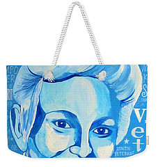 Weekender Tote Bag featuring the painting Woman Veteran Gabe by Michelle Dallocchio