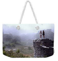 Women Overlooking Bright Foggy Valley Weekender Tote Bag