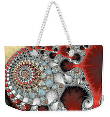 Wonderful Abstract Fractal Spirals Red Grey Yellow And Light Blue Weekender Tote Bag by Matthias Hauser