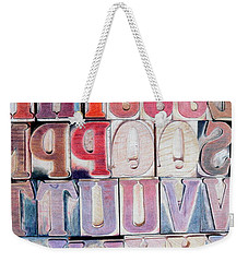 Wood Block Letters Weekender Tote Bag