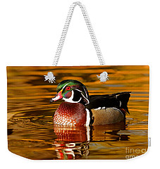 Wood-drake On The Golden Light Weekender Tote Bag by Mircea Costina Photography