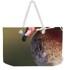 Weekender Tote Bag featuring the photograph Wood Duck Portrait by Bryan Keil