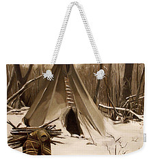 Weekender Tote Bag featuring the painting Wood Gatherer by Nancy Griswold