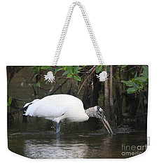 Weekender Tote Bag featuring the photograph Wood Stork In The Swamp by Christiane Schulze Art And Photography