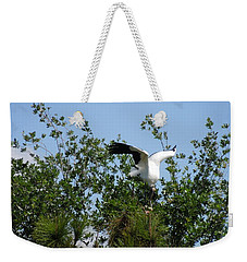 Weekender Tote Bag featuring the photograph Wood Stork by Ron Davidson