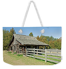 Weekender Tote Bag featuring the photograph Wooden Barn by Charles Beeler