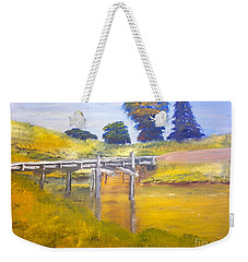 Weekender Tote Bag featuring the painting Wooden Bridge At Graften by Pamela  Meredith