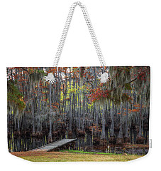 Wooden Dock On Autumn Swamp Weekender Tote Bag