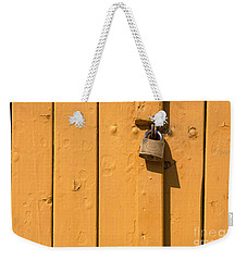 Wooden Plank Door Steel Lock Weekender Tote Bag