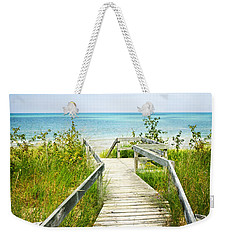 Wooden Walkway Over Dunes At Beach Weekender Tote Bag