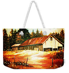 Weekender Tote Bag featuring the painting Woodland Barn In Autumn by Al Brown