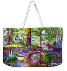 Weekender Tote Bag featuring the painting Woodland Rapture by Jane Small