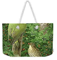 Woodpecker Owl And Thrush  Weekender Tote Bag