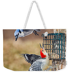 Woodpeckers And Blue Jays Square Weekender Tote Bag by Bill Wakeley