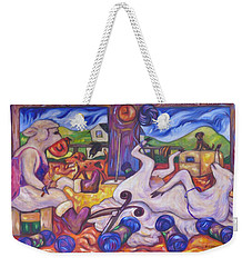 Weekender Tote Bag featuring the painting Wool Industry Woes by Dianne  Connolly