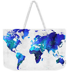 Weekender Tote Bag featuring the painting World Map 17 - Blue Art By Sharon Cummings by Sharon Cummings