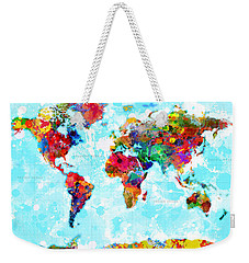 World Map Spattered Paint Weekender Tote Bag