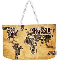 World Map Typography 6 Watercolor Painting Weekender Tote Bag