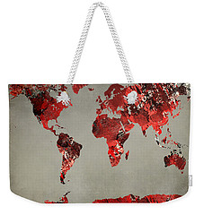 World Map - Watercolor Red-black-gray Weekender Tote Bag