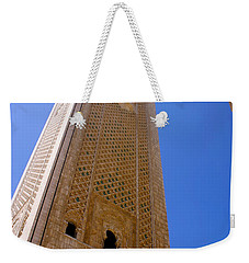 Weekender Tote Bag featuring the photograph Worlds Tallest Minaret At 210m Hassan II Mosque Grand Mosque Sour Jdid Casablanca Morocco by Ralph A  Ledergerber-Photography
