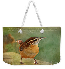 Wren With Verse Weekender Tote Bag by Debbie Portwood