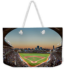 Wrigley Field Night Game Chicago Weekender Tote Bag by Steve Gadomski