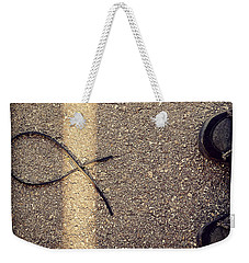 Weekender Tote Bag featuring the photograph X On The Line by Meghan at FireBonnet Art