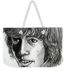 Weekender Tote Bag featuring the drawing Robin Gibb by Patrice Torrillo