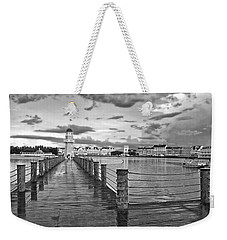 Yacht And Beach Lighthouse In Black And White Walt Disney World Weekender Tote Bag