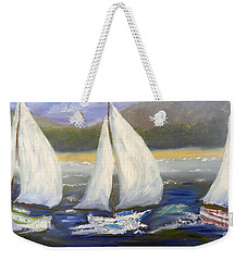 Yachts Sailing Off The Coast Weekender Tote Bag