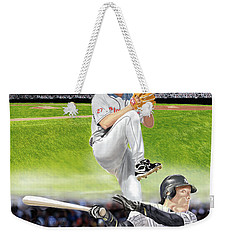 Weekender Tote Bag featuring the digital art Yankees Vs Indians by Thomas J Herring