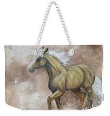 Yearling In Storm Weekender Tote Bag