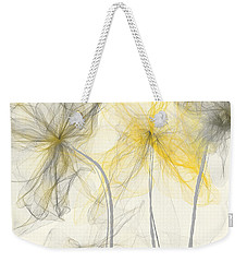 Yellow And Gray Flowers Impressionist Weekender Tote Bag