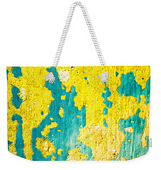 Weekender Tote Bag featuring the photograph Yellow And Green Abstract Wall by Silvia Ganora