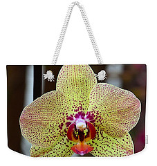 Yellow And Maroon Orchid Weekender Tote Bag by Kathy Eickenberg