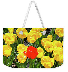 Yellow And One Red Tulip Weekender Tote Bag