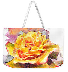 Weekender Tote Bag featuring the painting Yellow Rose Fringed In Red by Greta Corens
