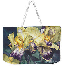 Watercolor Of A Tall Bearded Iris Painted In Yellow With Purple Veins Weekender Tote Bag