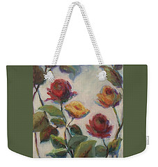 Yellow And Red Roses  Weekender Tote Bag by Mary Wolf