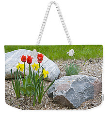 Yellow And Red Tulips With Two Rocks Weekender Tote Bag
