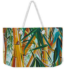 Weekender Tote Bag featuring the painting Yellow Bamboo by Marionette Taboniar