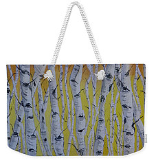 Weekender Tote Bag featuring the painting Yellow Birch by Kelly Mills